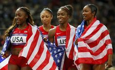 (L-R) Bianca Knight, Allyson Felix, Tianna Madison and Carmelita Jeter of the U.S. celebrate after they gold in the women's 4x100m relay final during the London 2012 Olympic Games at the Olympic Stadium August 10, 2012. The U.S. won the women's 4x100 metres relay in a world record time, completing the lap in a sizzling 40.82 seconds to win the title back for the first time since 1996.