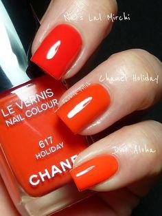 Nars 'Lal Mirchi' and Dior 'Aloha' vs Chanel 'Holiday'
