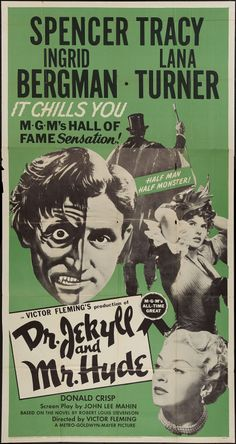 Jekyll and Mr. Hyde (MGM, Three Sheet X Horror. Starring Spencer Tracy, Ingrid - Available at Sunday Internet Movie Poster. Old Movie Posters, Classic Movie Posters, Classic Horror Movies, Movie Poster Art, Classic Films, Sci Fi Movies, Scary Movies, Old Movies, Vintage Movies