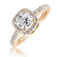 yellow gold cushion wedding rings halo cut - Google Search