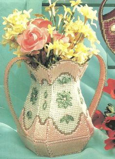 Digital Pattern  The Perfect Peach Vase 10 or 7 ct Mesh Plastic Canvas