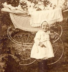 Wicker baby buggy. c. late 1800s-early 1900s.