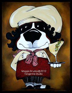 Whimsical fat chef waiter Martini bar ART by tangerinestudio, $95.00