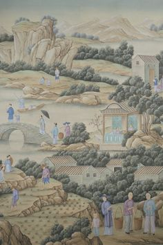 : Handpainted Chinese landscape and figure design based on an century document depicting various aspects of tea cultivation amidst a dramatic water and mountain landscape. Two panels shown. Scenic Wallpaper, Hand Painted Wallpaper, Chinese Paper, Chinese Landscape, Mountain Landscape, Classic House, Custom Furniture, Chinoiserie, Asian Art