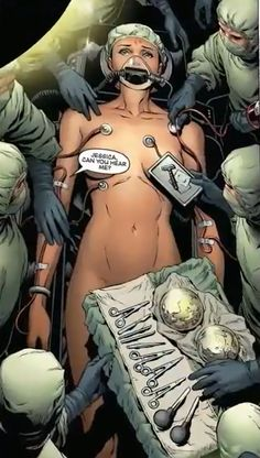"""While undergoing surgery to regain her powers, Jessica Drew (Spider-Woman) was given breast implants."" Why is she naked and conscious? How were the breast implants relevant for the surgery? WTF?"