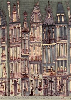 """illuhippo:        """"Don't Walk Your Lady Skid Row"""" by Matthew Sharack.        The houses and streets he creates are great. I really like the victorian/ burtonesque shapes and style. On his blog there are plenty more towns like these. And his characters fit perfectly in the settings, too."""