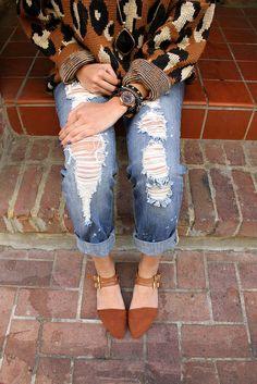 pancakeSTACKER blog x Forever 21 Flats x Crossroads Trading Co. Leopard Sweater x Indigo Rein Distressed Boyfriend Jeans by pancakestacker, ...