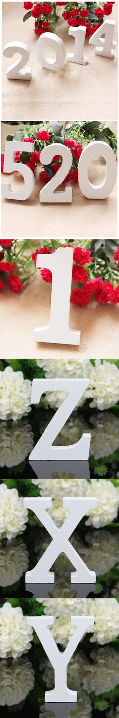10 Letters White Minimalist Modern English Alphabet Wooden Carved Figure Furnishing Articles Home Decor Decoration Wedding $1.23
