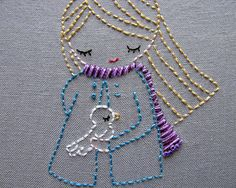 ♒ Enchanting Embroidery ♒ embroidered little girl with a bird