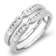 14k White Gold Round Diamond Ladies Anniversary Wedding Band Enhancer Guard Double Ring 1/4 CT (0.25 cttw, F-G-H Color, SI-I Clarity)