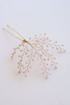 Bridal Headpiece Blush Pink Crystal Twigs от MelindaRoseDesign