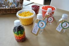 Great kid party activity. P would LOVE putting all the skittles in place