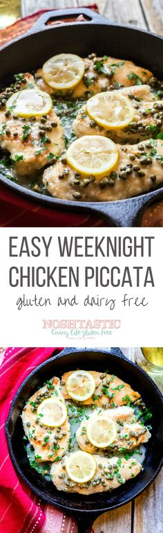 Easy Weeknight Gluten Free Chicken Piccata,ready in less than 30 Minutes! This recipe is Low Carb, Paleo, Whole 30, low calorie, gluten free, and dairy free
