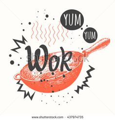 Vector illustration with wok pan. Asian menu in sketch style. Funny labels with fast food symbols.
