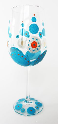 Painted Wine Glass, Turquoise Blue, Orange & White Wine Glass, Hand-painted, Birthday, Wedding, Shower Gift or Favor. $18.00, via Etsy.