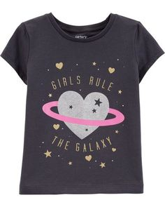 Toddler Girl Shorts, Toddler Outfits, Kids Outfits, Cute Tshirts, Kids Shirts, Carter Kids, Glitter Girl, Cute Toddlers, Girls Rules