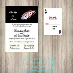 DIY Printable Las Vegas Lucky in Love Wedding Reception Invitation and RSVP-Digital File ONLY