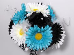 Tiffany Blue White Black and Damask Bouquet by poseysandpetals, $74.99