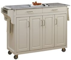 Home Styles 9200-10220G Create-a-Cart, White Finish with Marble Top by Home Styles. $467.49. Heavy duty locking rubber casters for easy mobility and safety. Four cabinet doors that open to storage with three adjustable shelves inside. Handy spice rack with towel bar and paper towel holder. 3/4-inch Marble top. Home Styles Create-a-cart in a white finish with a 3/4-inch Marble top features solid wood construction, four cabinet doors open to storage with three adju...
