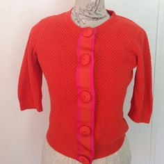 Boden Orange/Pink Sweater 8 Cute sweater with beautiful trim and fabric snap buttons.  100% cotton Boden Sweaters Cardigans