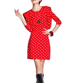 Red Dress with Star Print and Pleated Flap to Shoulders