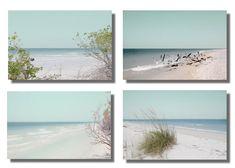 Beach Photography print, West coast Florida, white sandy beach Set of 4 Prints Aqua blue Turquoise coastal wall art beach decor prints