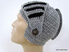 Chapeau chevalier casque chapeau d'homme tricot crochet, chapeau de snowboard hommes chapeau mou, vélos de masque d'hiver Fait de noir et de gris organique mélange de laine - 6096825