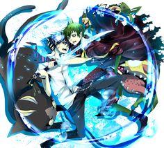Anime Blue Exorcist  Kuro (Ao No Exorcist) Ao No Exorcist Rin Okumura Amaimon (Ao No Exorcist) Papel de Parede