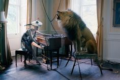 Tim WalkerKaren Elson at piano with singing Lion, Shotover House, Oxfordshire 2013Archival pigment print on Harman gloss Baryata fibre based paper110 x 152 cmEdition of 10Accompanied by a signed, titled and editioned label from the artist