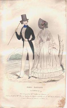 1840s French fashion print ~ LADY & GENTLEMAN ~ bonnet, top hat