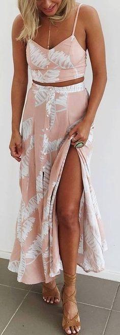 #summer #muraboutique #outfitideas | Palm Print Two Piece Boho Set