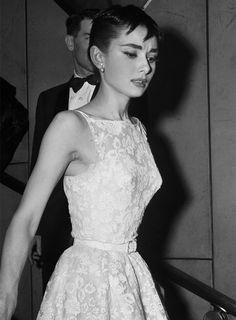 Audrey Hepburn at the Academy Awards, 1954.