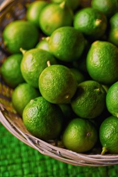 Key limes are harvested when very green. The more yellow they become, the more ripe they are.