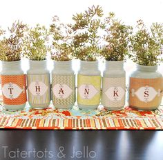 Looking for really simply Thanksgiving table decorations to make this year? If so, then the Give Thanks with Recycled Jars are the perfect Thanksgiving decorations to make. You can create elegant decorations you can use anywhere in your home. Thanksgiving Centerpieces, Thanksgiving Crafts, Fall Crafts, Holiday Crafts, Holiday Fun, Thanksgiving Table, Halloween Crafts, Holiday Decor, Halloween Labels