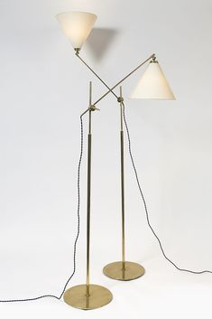 Anonymous; Brass and Glass Floor Lamps for Holm Sørensen & Co., c1960.