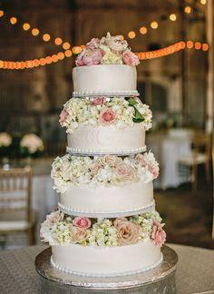 floral wedding cake - photo by Brandi Smyth http://ruffledblog.com/industrial-wedding-in-shreveport