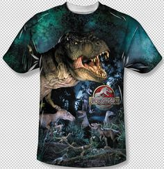 3d50a2da5c9f6 Jurassic Park Movie T-Rex Raptors Logo All Over Front Sublimation Youth T- shirt