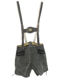 1970s Vintage Shorts: 70s -size label- Mens grey background suede leather authentic German style button front Oktoberfest lederhosen shorts with decorative trimmed button on and buckle adjustable suspenders, dark grey leather trimmed inset pockets and laced tongs on the sides of the legs.