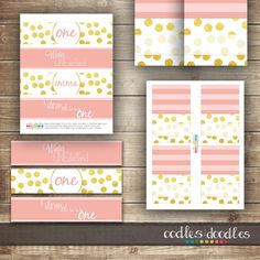 Blush & Gold Girl's Winter ONEderland First Birthday Party  | Party Printables by Oodles and Doodles, OandD