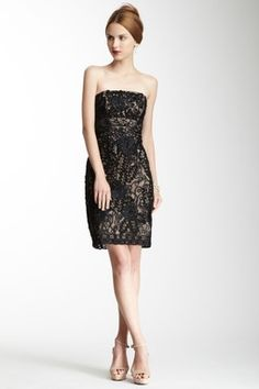 Black/Nude Embroidered Strapless Dress by Sue Wong on HauteLook