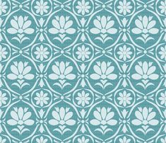 Boston Blue Damask fabric by natitys on Spoonflower - custom fabric