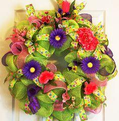 Summer Wreaths | ... Wreath, Pink, Green, Purple Wreath, Mothers Day Gift, Summer wreath