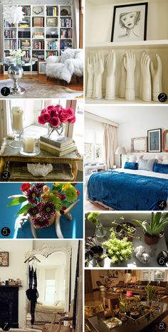 Inspiration:  books facing all kinds of ways and a blue and white bed.