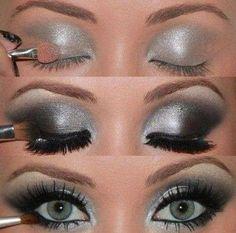 Smokey eye, make up, silver, fake lashes, glam