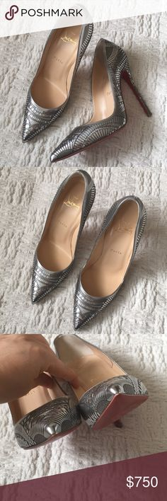 """Christian Louboutin Silver Kristali Laser-cut Pump Excellent condition. Small signs of wear. Bottoms resoled. No box/dust bag. Will ship in another dust bag. 4.5"""" heel. Leather upper lining and sole. Size 38. Please know your size in CL before purchasing. Pointed toe. Laser cut metallic leather. Christian Louboutin Shoes Heels"""