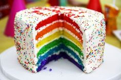 Another yummy rainbow cake. it look totally delishious! UPDATE: Picture credit to PG. See more rainbow cakes here: Rainbow Cake Again,Rainbow Food Cakes, Cupcake Cakes, Cupcakes, Rainbow Food, Rainbow Sprinkles, Rainbow Things, Rainbow Layer Cakes, Cake Rainbow, Rainbow Birthday
