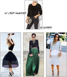 In Dramatic Fashion: A Crop Sweater 3 Ways #fashion #outfits #Piperlime