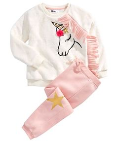 Epic Threads Little Girls Unicorn Sweatshirt & Jogger Pants Set, Created For Macy's - Holiday Ivory Toddler Girl Style, Toddler Fashion, Toddler Outfits, Kids Outfits, Kids Fashion, Toddler Girls, Toddler Hair, Kids Girls, Little Girl Fashion