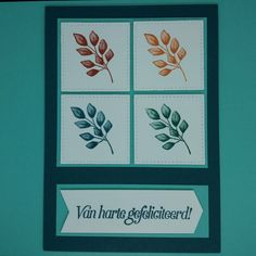 Deze kaart van Ingrid Nellen is een fantastisch voorbeeld van een van de designprincipes: Herhaling. Ze heeft hier het takje van de Forever Fern (Natuurlijk voor Altijd) in 4 van de kleuren van de combinatie gestempeld en met de Stitched Shapes uitgestansd. Door ze samen te matten wordt het gevoel van eenheid versterkt. De spreuk uit Voorjaarswensen heeft ze vervolgens met de Banners Pick a Punch een leuke vorm gegeven. Heel mooi gedaan, Ingrid. #prullekekleurencombinatie…