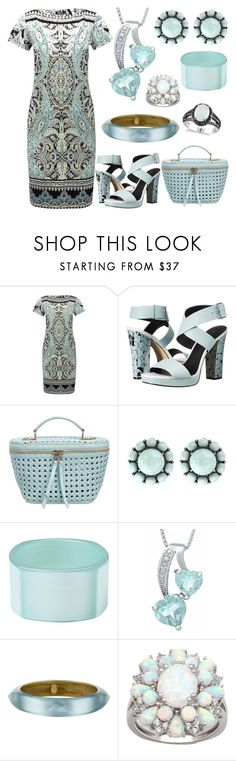 """""""Aquamarine Paisley"""" by donnalynnginn ❤ liked on Polyvore featuring M&Co, Calvin Klein, Benedetta Bruzziches, Color My Life, First People First, Alexis Bittar and Allurez"""
